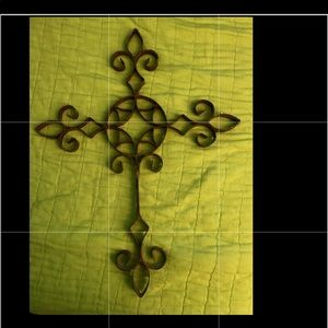 Rustic metal scroll cross